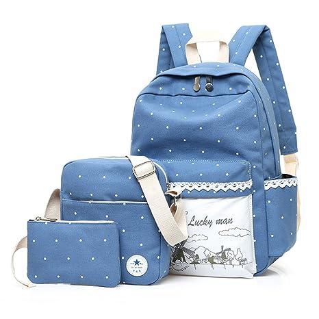 yusong Casual ligero lienzo portátil bolsa bolsa de hombro Escuela Mochila Pack de 3