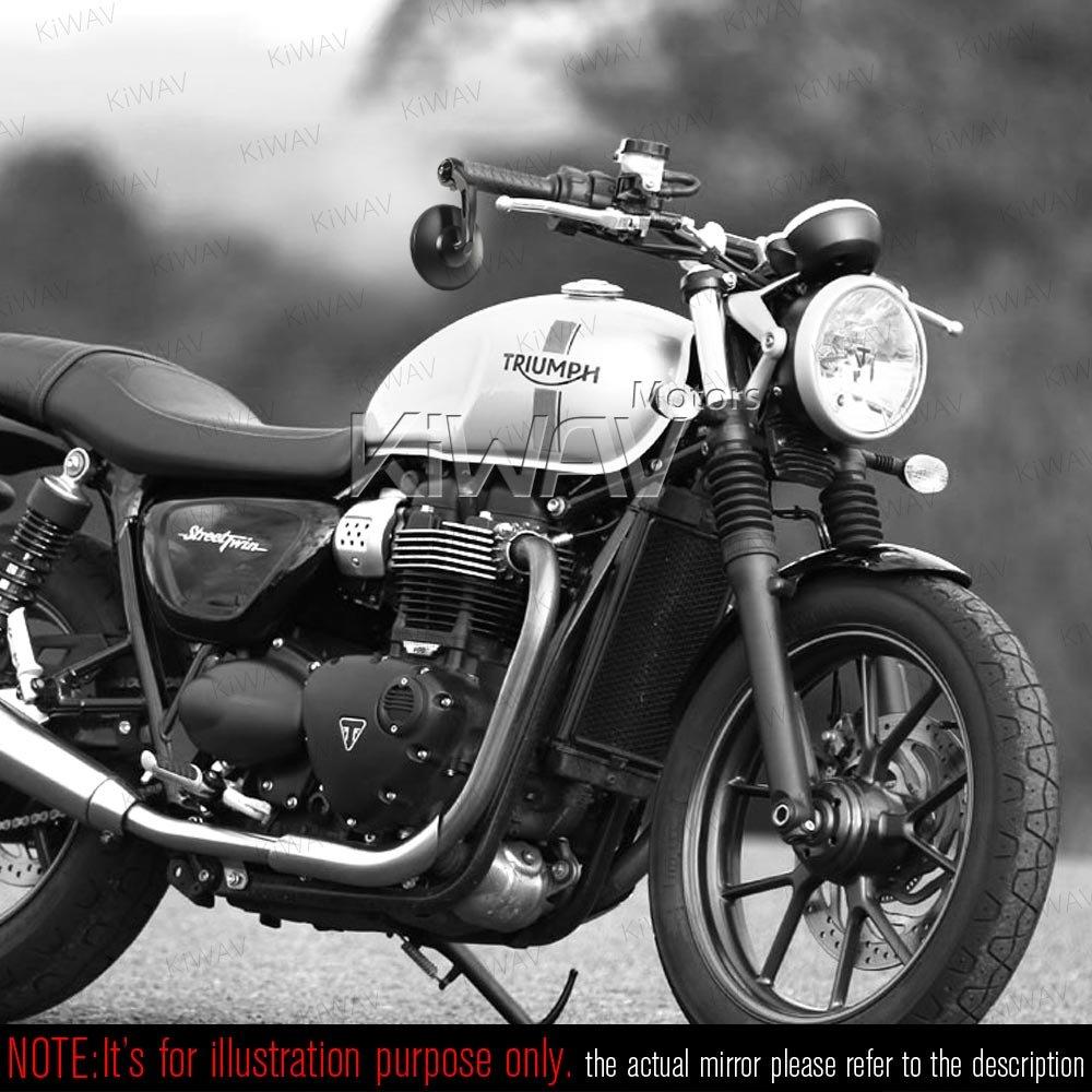 KiWAV Moto specchietto retrovisore nero estremit/à manubrio BOB per Triumph water-cooled moto