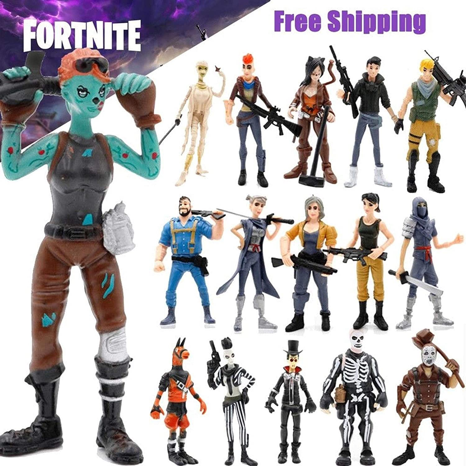 Amazon.com: unbrand 16 Pcs Fortnite Action Figures Skull ...