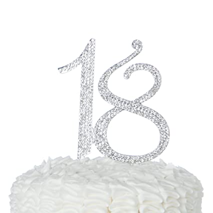 Amazon Ella Celebration 18 Cake Topper 18th Birthday Party Supplies Decoration Ideas Silver Kitchen Dining