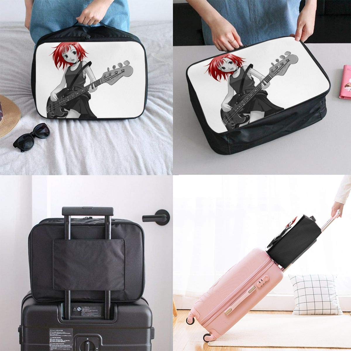 Girl Guitar Original Anime Red Hair Customize Casual Portable Travel Bag Suitcase Storage Bag Luggage Packing Tote Bag Trolley Bag