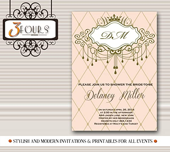 chandelier monogram bridal shower invitation