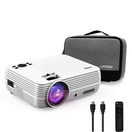 [Versión Actualizada] Mini Proyector, LATOW Proyector Portátil Full HD 1080P, Proyector LED de 2200 Lúmenes, Cine en Casa Video, Incluido Cable ...