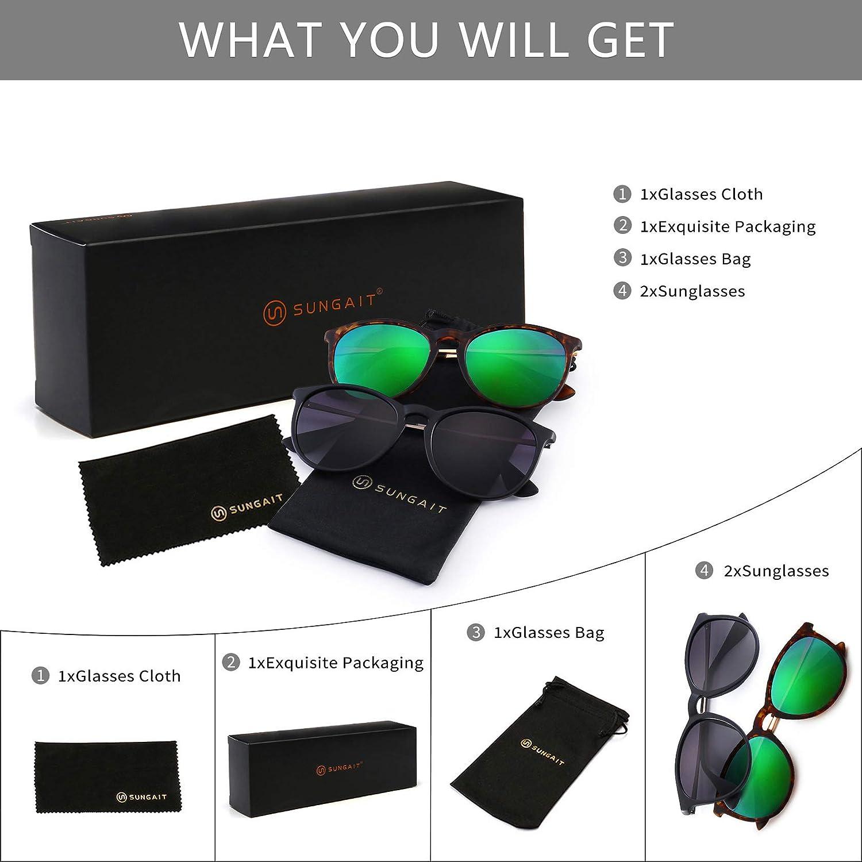 Polarized 2 Pack SUNGAIT Vintage Round Sunglasses for Women Men Classic Retro Designer Style Green Lens /& Grey Gradient Lens