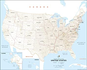 united states map with counties Amazon.: USA Map with County Names (36