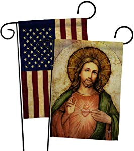 Ornament Collection Sacred Heart of Jesus Garden Flag Pack Religious Faith Hope Grace Peace Dove Christian Religion Easter Vintage Applique House Banner Small Yard Gift Double-Sided, Made in USA