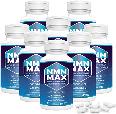 NMN Supplement 500mg, Advanced NMN Formula with Coenzyme Q10 100mg, Phosphatidylserine 80mg, Policosanol 20mg and Herb Blend 50mg, 750mg Per Capsule, Boost NAD+ Levels for Anti-Aging & Overall Health