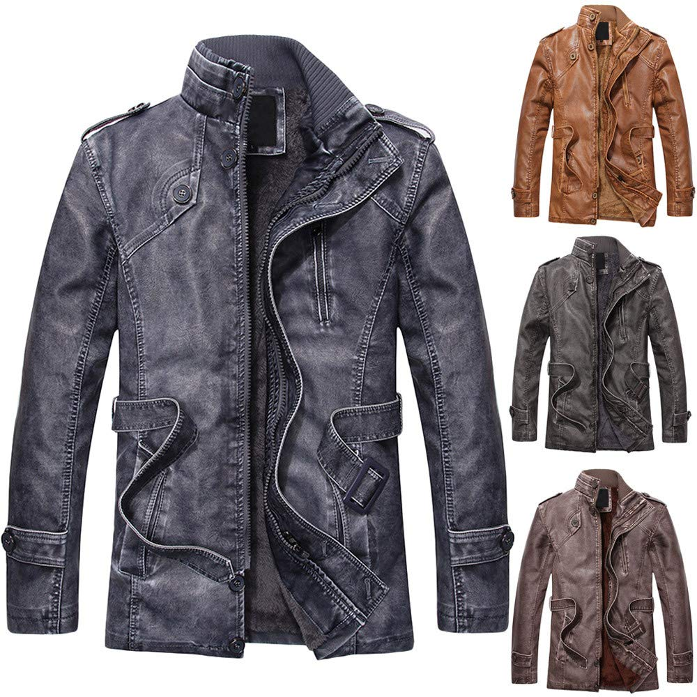 YKARITIANNA Mens 2018 New Coat,Fashion Autumn Winter Novelty Faux Leather Standing Collar Long Slim Washed Jackets Coat