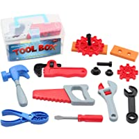 Mumu Sugar Kids Toy Tool Box Pretend Play Set with 15 Construction Accessories for Boys & Girls