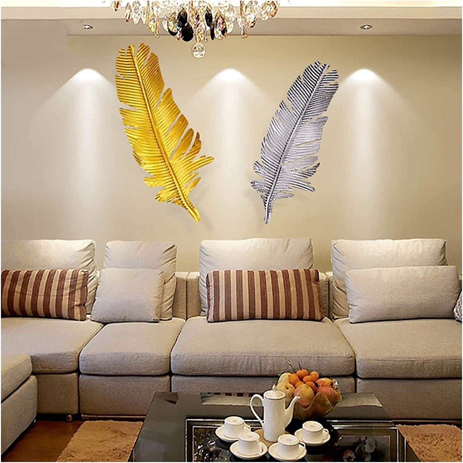 JWBB 3D Metal Feather Wall Art Decor,Hanging Wall Sculpture Decoration,Wall Mounted Wall Statue,Creative Contemporary Artwork Ornament Durable Smooth Indoor/Outdoor Entryway Ornaments,Silver 21413