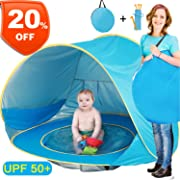 Baby Beach Tent, Pop Up Portable Sun Shelter with Pool, 50+ UPF UV Protection & Waterproof 300MM, Summer Outdoor Baby Tent for Aged 0-4 Infant Toddler Kids Parks Beach Shade