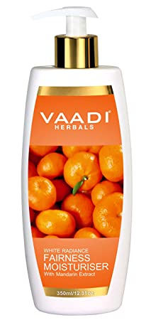 Fairness Moisturizer Lotion with Mandarin and Silk Extract – Vitamin C Rich Mandarins Effectively Lightens Your Skin Tone While Deep Moisturizing It – Silk Extract Controls Melanin Production – Suitable for All Skin Types – 11.8 Ounces 350 Ml – Vaadi Herbals