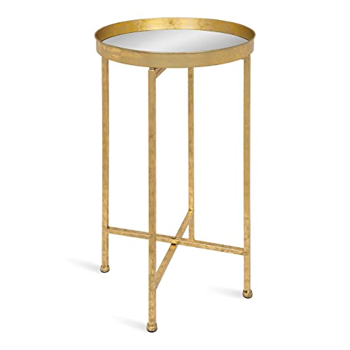 Kate and Laurel Celia Round Metal Foldable Tray Accent Table, 14x14x25.75, Gold Mirror