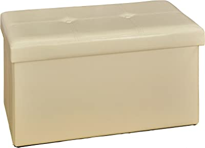 Kennedy Home Collection 30-Inch Faux leather Folding Ottoman, Ivory