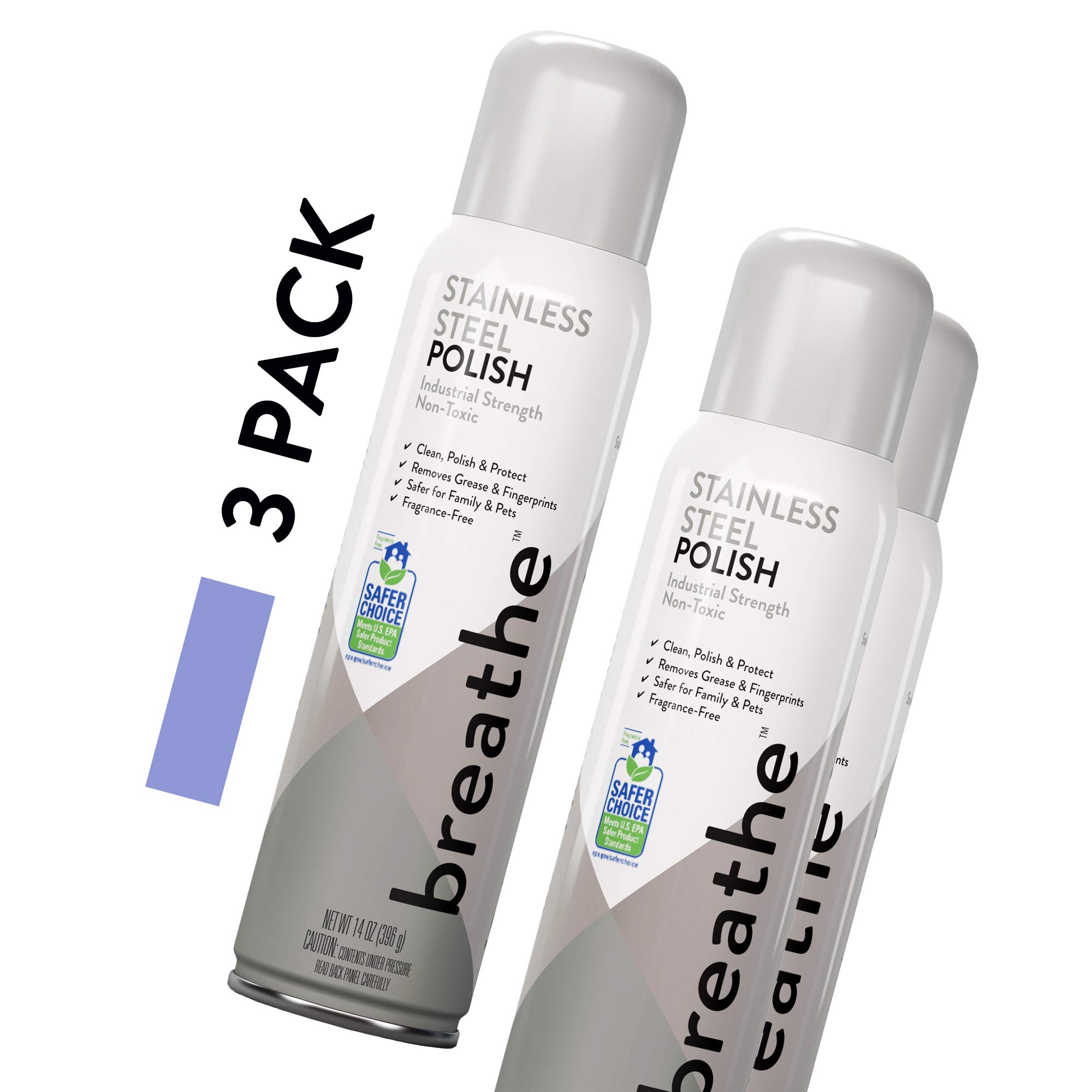 Breathe Industrial Stainless Steel Cleaner That Cleans, Polishes, and Protects - Removes Grease and Fingerprints - EPA Safer Choice Product - 14 oz - 3 Pack by BREATHE