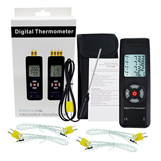 4 Channel K-Type digital thermometer thermocouple sensor LCD backlight ATF