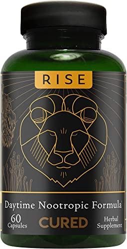 Cured Nutrition Rise Nootropic Formula, Brain Performance Enhancer, 60 Capsules, Daytime Herbal Supplement Including Hemp Extract, Mushrooms, Lion s Mane, Rhodiola Vitamin B, Wakefulness Focus