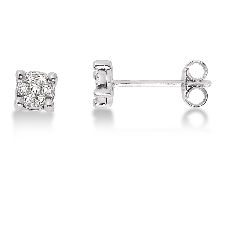 Miore Diamond Earrings 9ct White Gold Diamond Studs 0 07 carat