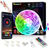 Bluetooth LED Strip Lights 5M, Music Sync Color Changing 5050 RGB LED Light Strip, 44 Keys RF Remote Controll & APP…