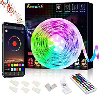 Bluetooth LED Strip Lights 5M, Music Sync Color Changing 5050 RGB LED Light Strip, 44 Keys RF Remote Controll & APP Controller, Sensitive Built-in Mic, Timing Function for Bedroom, Kitchen, TV, Party, DIY Decora