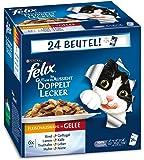 Felix So gut wie es aussieht Katzenfutter Doppelt lecker Fleisch Mix4er Pack, (4 x 24 x 100 g) Beutel