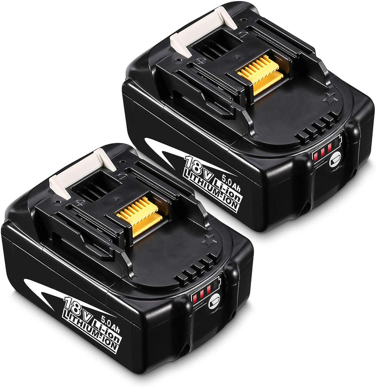 Boetpcr 2x BL1850B 18V 5.0 Ah batería de Herramienta Eléctrica Batería Repuesto para Makita BL1850B BL1850 BL1840 BL1830 BL1815 194205-3 LXT-400 con Indicador