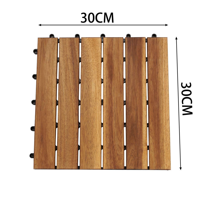 Model A, Gr/ö/ße: 11 St/ück | 1m/² wolketon 30 x 30 cm Akazien-Holz Holzfliesen 11er Set f/ür 1 m/² Garten-Fliese Bodenbelag mit Drainage Klick-Fliesen f/ür Garten Terrasse Balkon