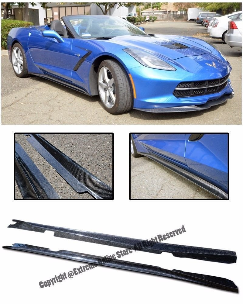 Add On Bottom Line Aero Style CARBON FIBER Rocker Panel Side Skirts Splitter Extension For 14-Up Corvette C7 Stingray Base 2014 2015 2016 2017 14 15 16 17 by Extreme Online Store