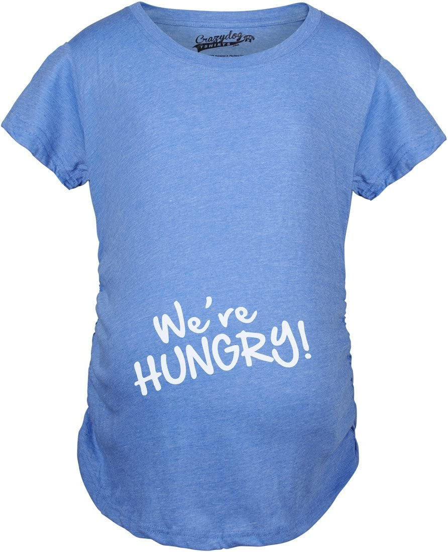 Maternity Were Hungry Funny Baby Bump Pregnancy Announcement T shirt