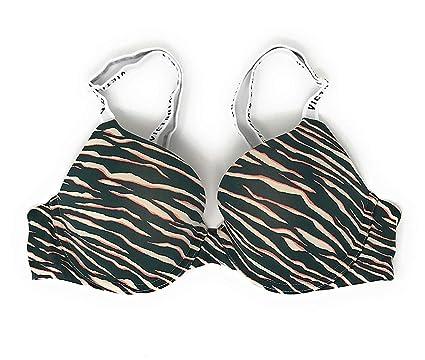10a59038ea546 Victoria s Secret T-Shirt Bra Push-Up Full Coverage 34A Green Zebra White  Logo
