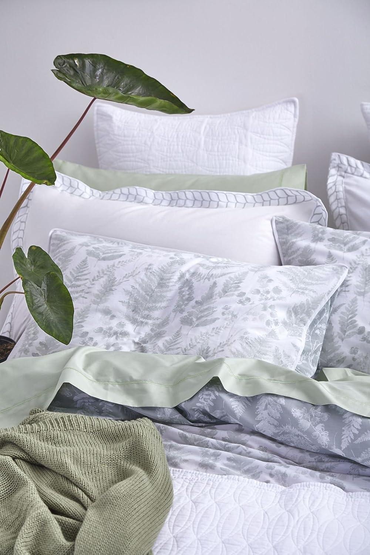 Taglia Unica Bianca Oxford Federa Verde Cotone