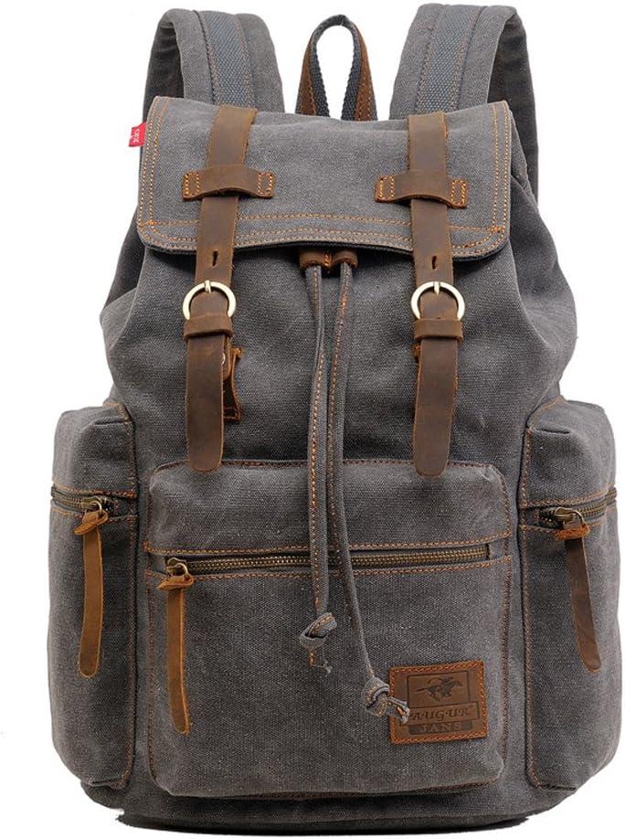 Canvas Backpack, P.KU.VDSL-AUGUR SERIES Vintage Canvas Leather Backpack, Hiking Daypacks, Computers Laptop Backpacks, Unisex Casual Rucksack Satchel Bookbag, Mountaineering Bag for Men