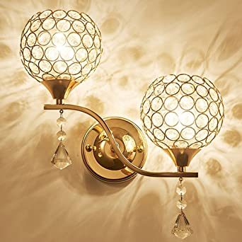 Salleor Applique Chevet Simple Lampe Pour Double Cristal Moderne Tête Murale Style Led Décorative Chambre Couloir En 0wOPnk