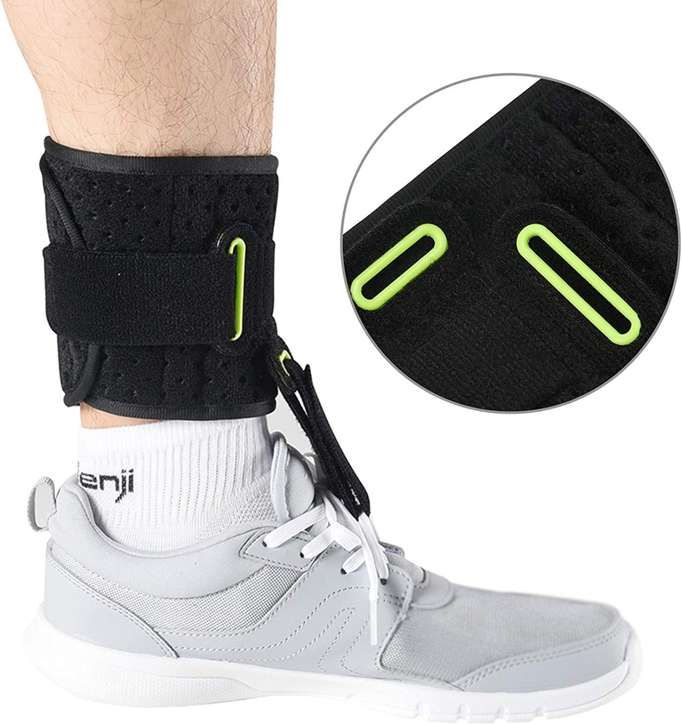 TENBON Ankle Support Drop Foot Brace Orthosis - Comfort Cushioned Adjustable Wrap Compression for Improved Walking Gait, Prevents Cramps Ankle Sprains