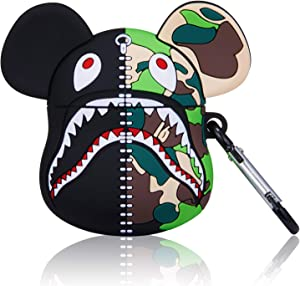 Hiiyorr Camouflage Bear Silicone Case for AirPod, Funny Cute Fashion Animal New 3D Character Protective Shockproof Air Pods Cover for Girls Kids Teens, Cartoon Fun Keychain Soft Skin for AirPods 2/1