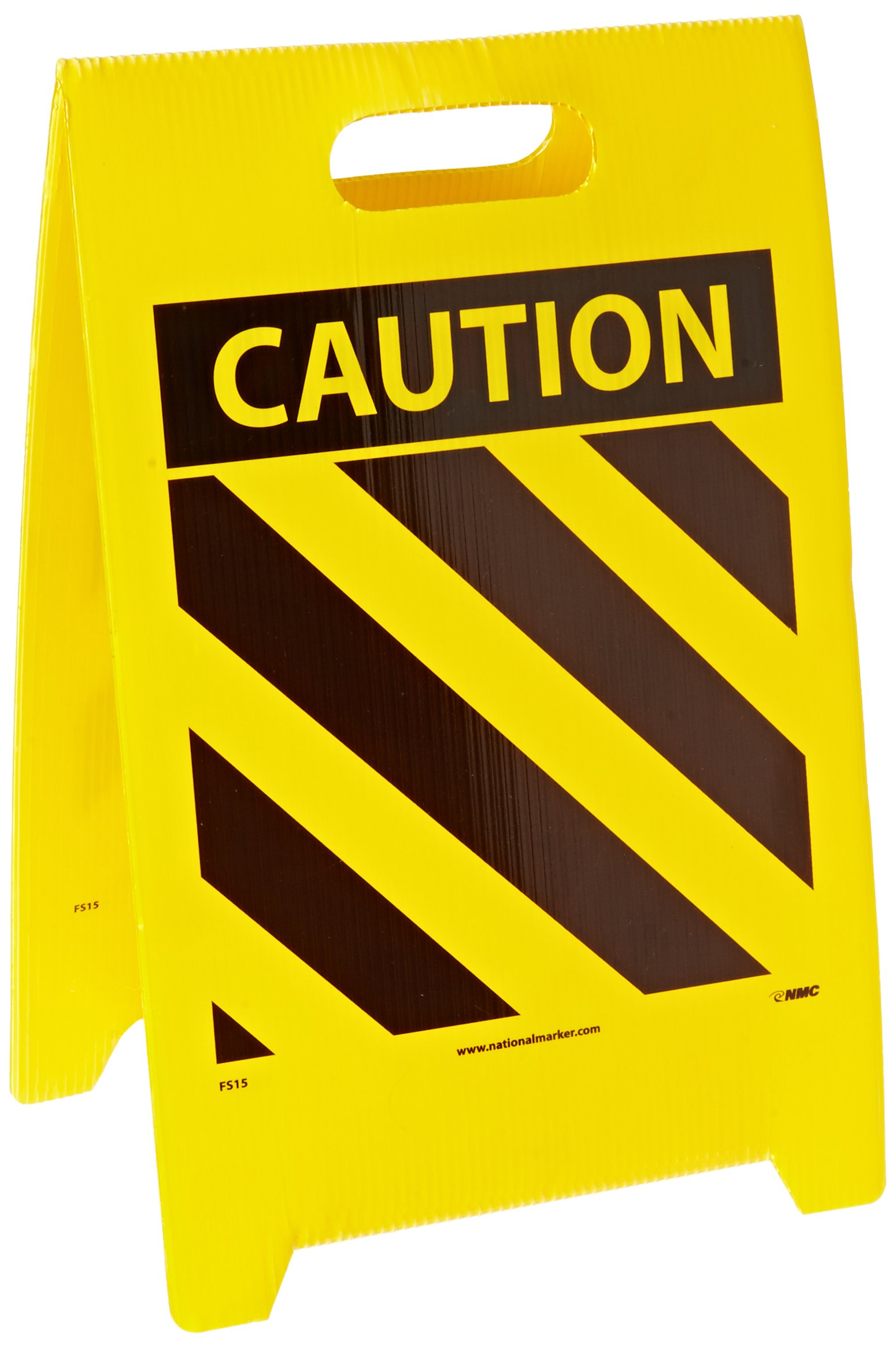 NMC FS15 Double Sided Floor Sign, Legend ''CAUTION'' with Hazard Stripe, 12'' Length x 20'' Height, Coroplast, Yellow/Black