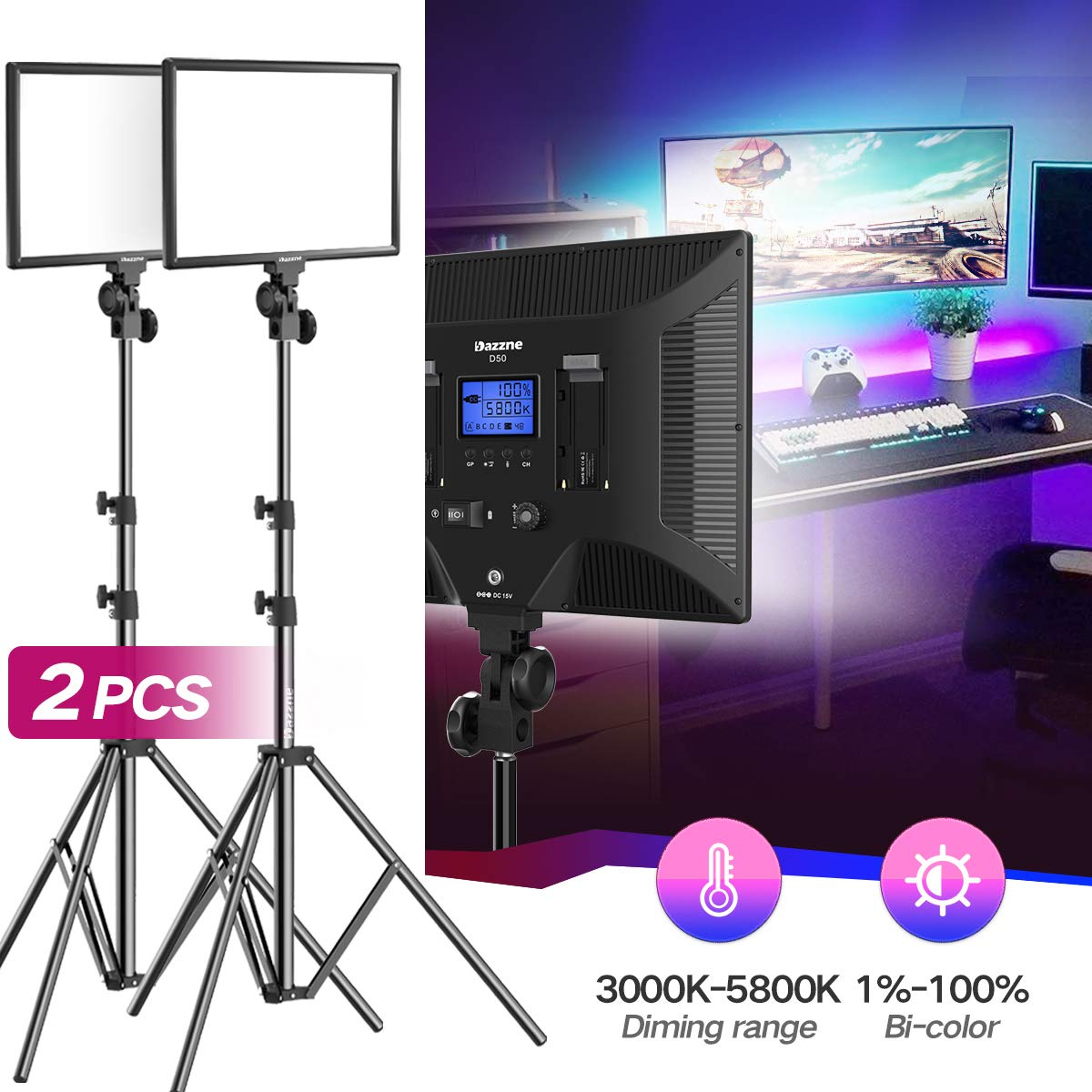 Bi-Color LED Video Light Stand Lighting Kit 2 Pack 15.4'' Large Panel 3000K-5800K 45W 4800LM Dimmable 1-100% Brightness Soft Light for YouTube Game Video Shooting Live Stream Photography Lighting by Dazzne