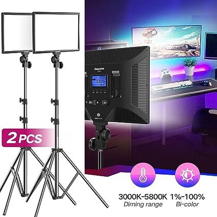 Bi-Color LED Video Light Stand Lighting Kit 2 Pack 15 4'' Large Panel  3000K-5800K 45W 4800LM Dimmable 1-100% Brightness Soft Light for YouTube  Game