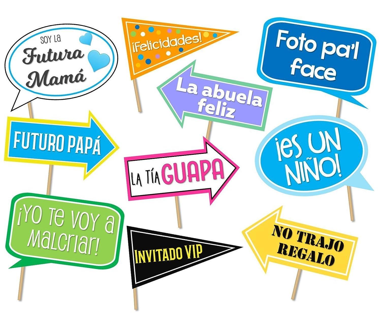 Amazon Com Baby Shower Photo Props In Spanish Letreros Para Fotos