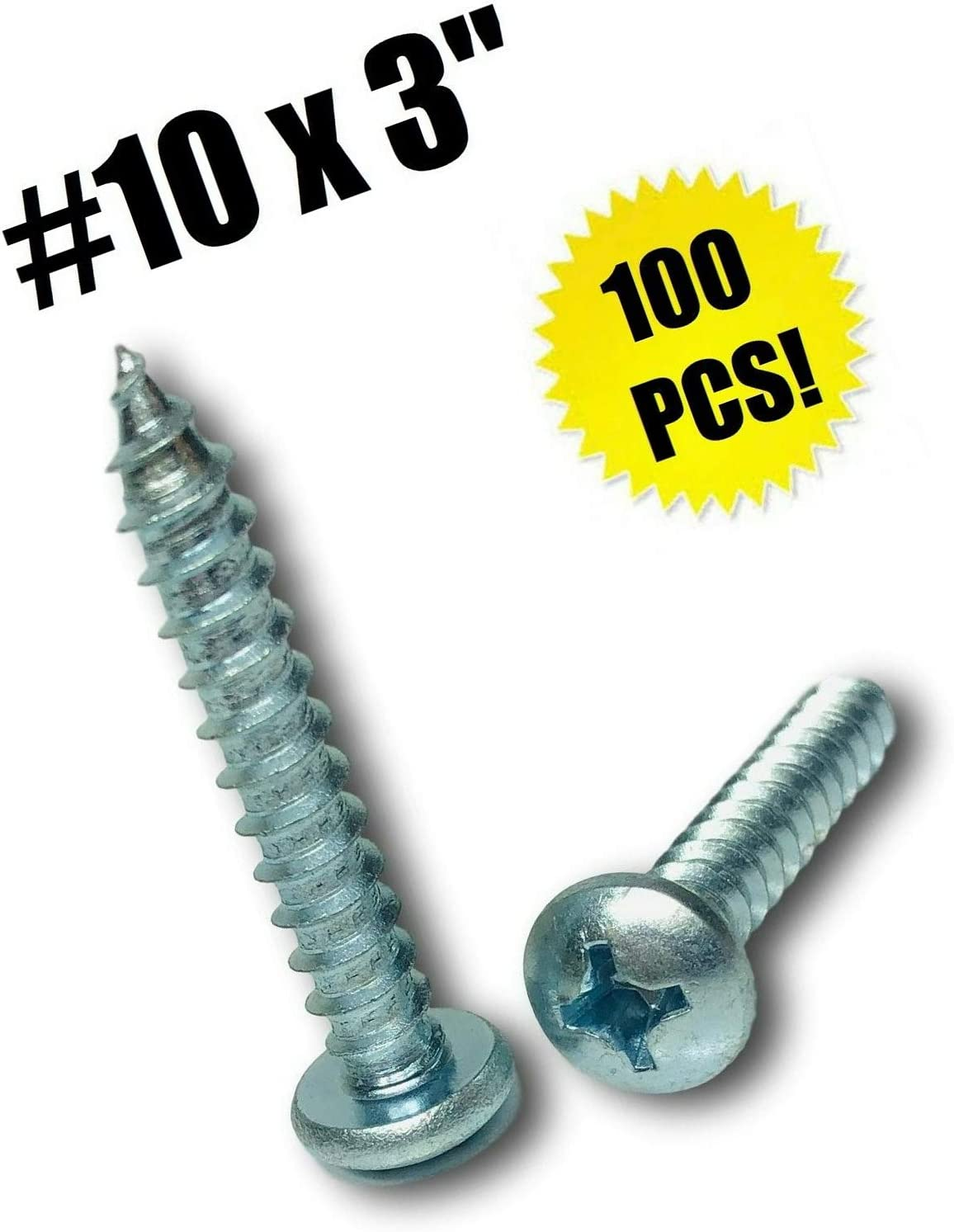 "#10 X 3"" Phillips Pan Head Sheet Metal Screw Zinc Plated (Qty 100) Grade Metric Hardware Fastener Kit"