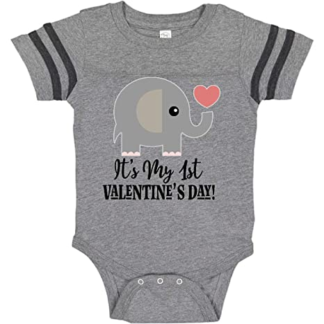 1426f9c2c12b6 Amazon.com: inktastic - 1st Valentines Day Baby Elephant Infant Creeper  2e5f7: Clothing