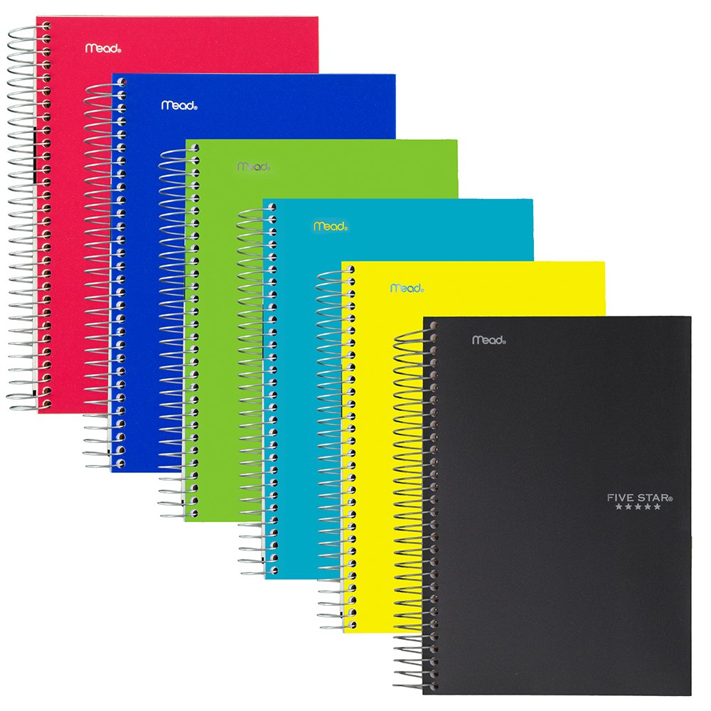Five Star Spiral Notebooks, 1 Subject, College Ruled Paper, 100 Sheets, 11'' x 8-1/2, 6 Pack (38052)