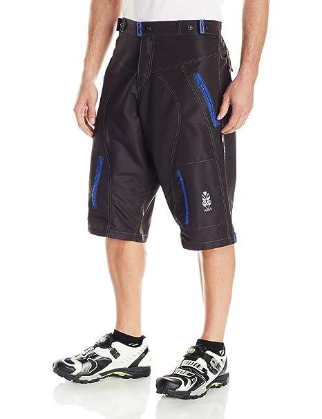 Astek Men s Blue Black MTB BMX Baggy Padded Mountain Bike Shorts (Medium) 504645978
