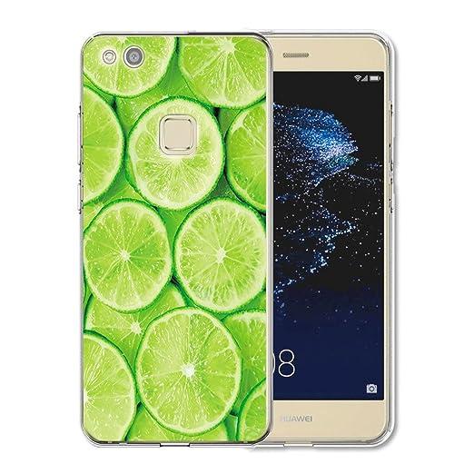30 opinioni per Huawei P10 Lite Cover , YIGA Moda verde arancione Cristallo Trasparente Silicone