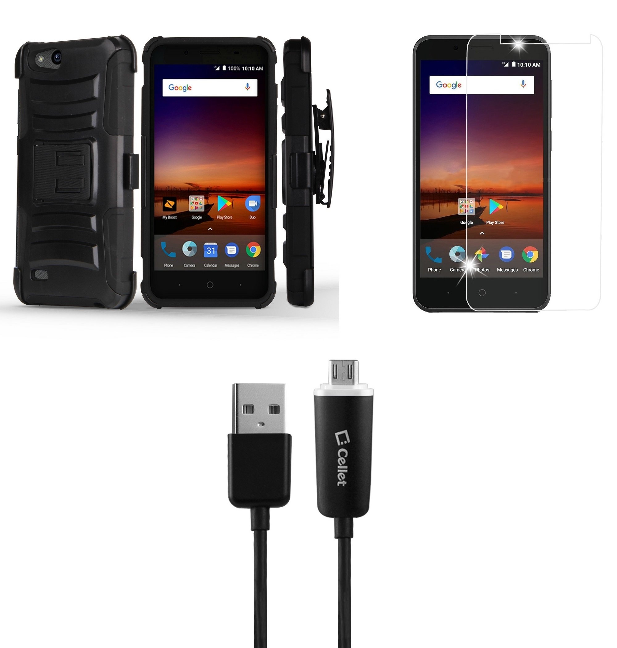 ZTE ZFive G LTE Z557BL - Bundle: Dual Layer Rugged Kickstand Belt Holster Case (Black), Tempered Glass Screen Protector, Micro USB Cable [LED Indicator Light / Velcro Strap], Atom Cloth