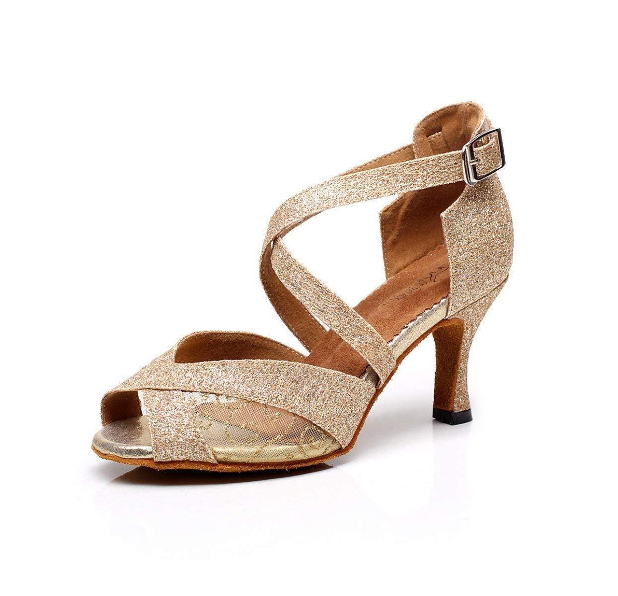 Frauen Peep Toe High Heel Satin Floral Salsa Tango Ballsaal Latin Ankle Wrap Tanzsandalen Gold-heeled6cm-UK5   EU37   Our38