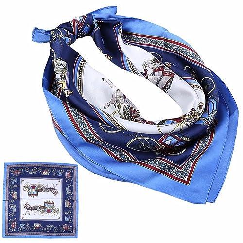 yall La Sra. Toalla Pequeña Impreso Pañuelo De Seda, Bluema, 60X60Cm.