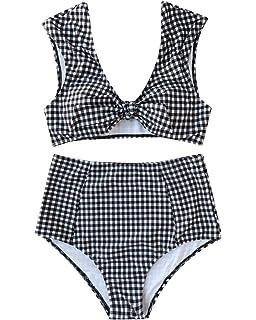 bd098270ecccf ZAFUL Womens Tie Knot Front Swimsuit High Waisted Bikini Sets Two Piece  Swimwear Beachwear