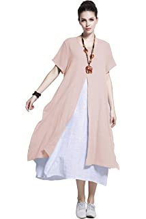 1dad5f6d5bc Anysize Fake-Two-Piece Soft Linen Cotton Dress Spring Summer Plus Size  Clothing Y110