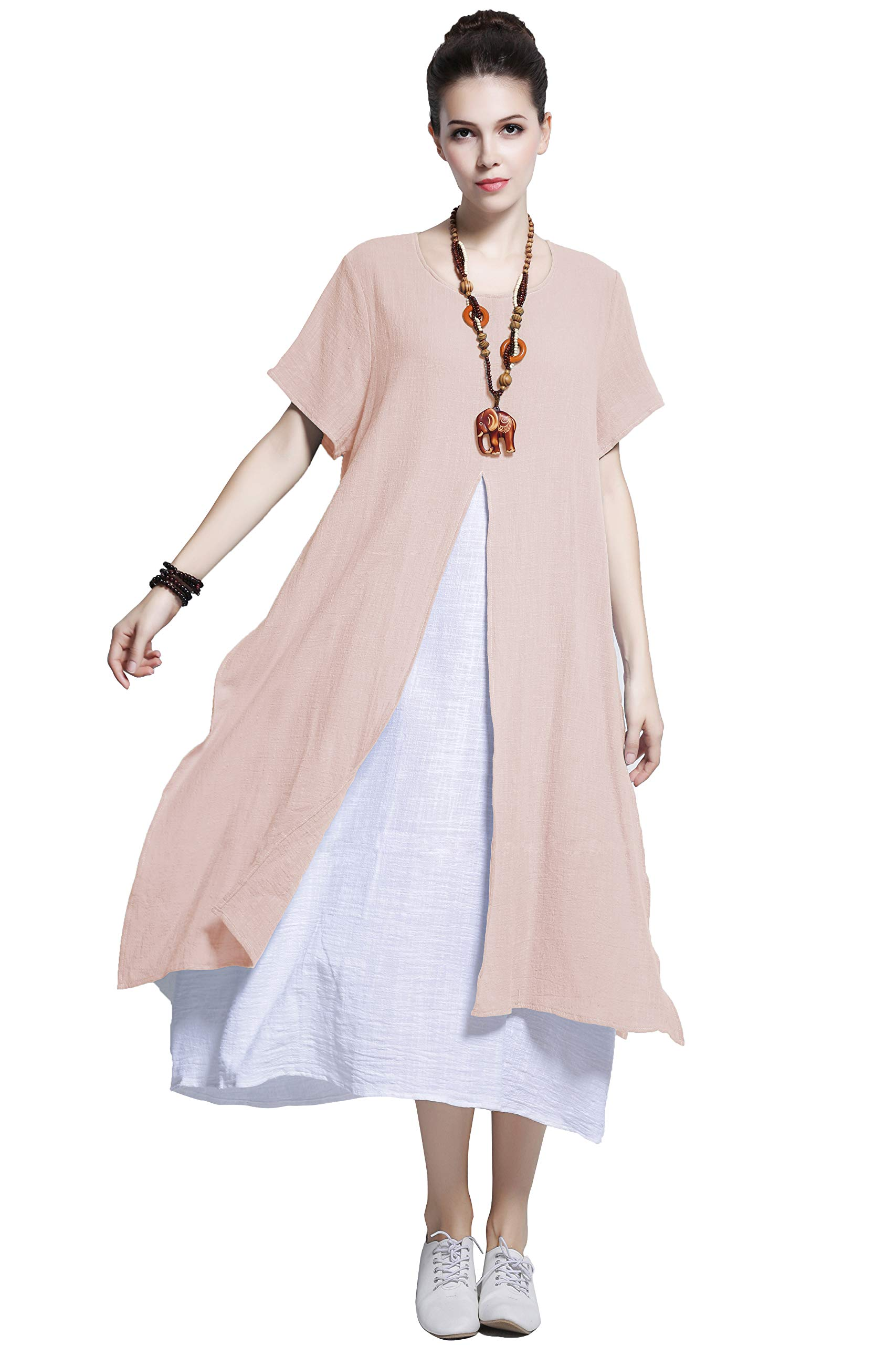 Anysize Fake-Two-Piece Soft Linen Cotton Dress Spring Summer Plus Size Clothing Y110